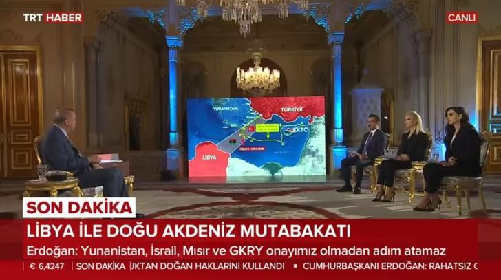 Ερντογάν καλεί Πούτιν για τον Χαφτάρ – TV – σόου του σουλτάνου με χάρτες για τη Μεσόγειο! (βιντεο)