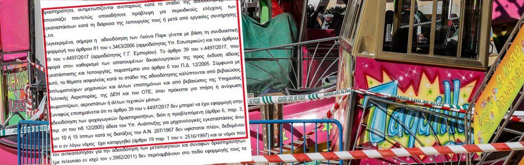 Αποκαλυπτικό έγγραφο για τα λούνα παρκ «του τρόμου» στην Ελλάδα – Κενά σε θέματα ασφαλείας!